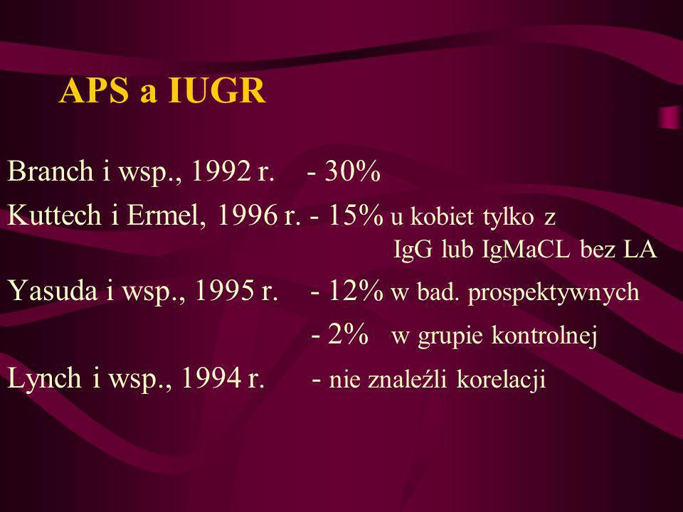 APS a IUGR Branch i wsp., 1992 r. - 30%