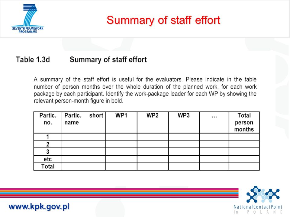 Summary of staff effort