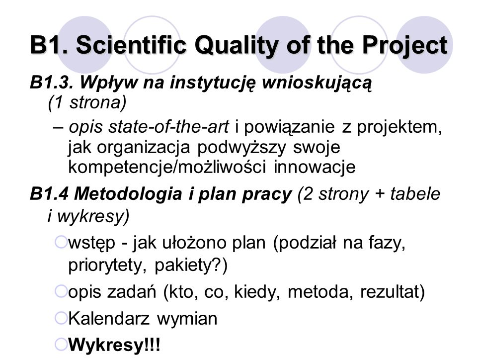 B1. Scientific Quality of the Project