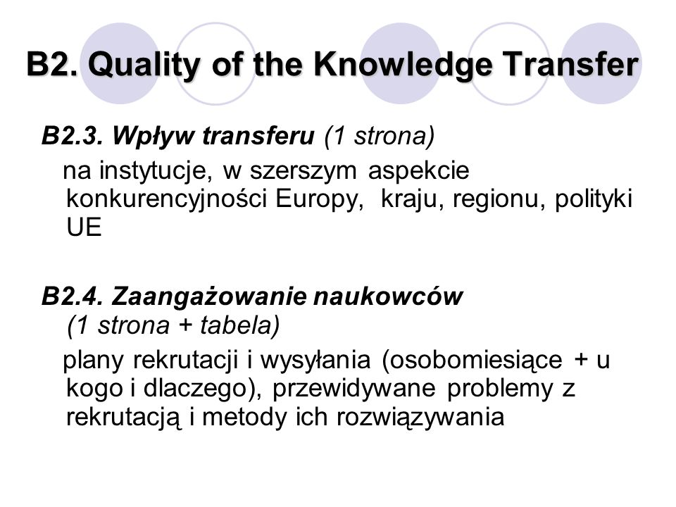 B2. Quality of the Knowledge Transfer