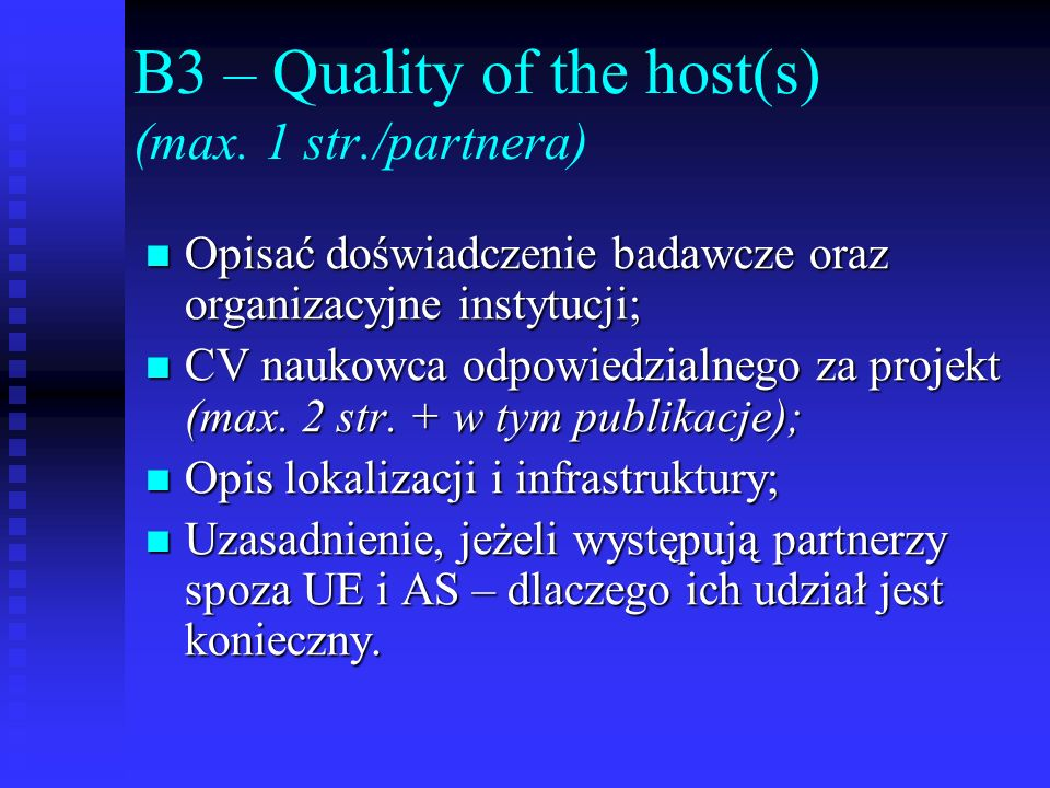 B3 – Quality of the host(s) (max. 1 str./partnera)