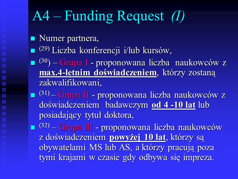A4 – Funding Request (I) Numer partnera,