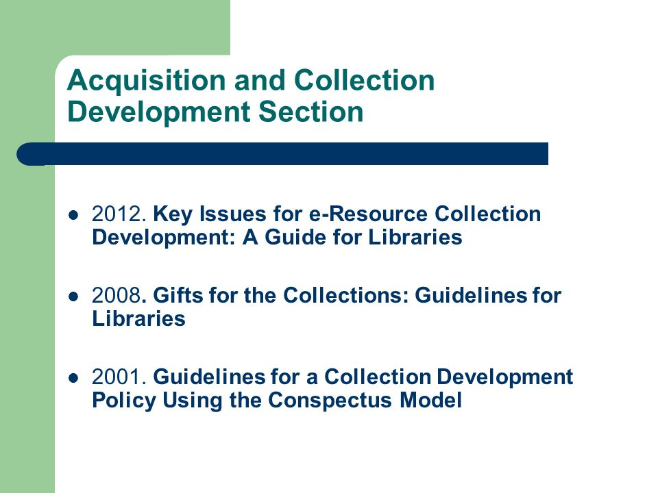 Acquisition and Collection Development Section