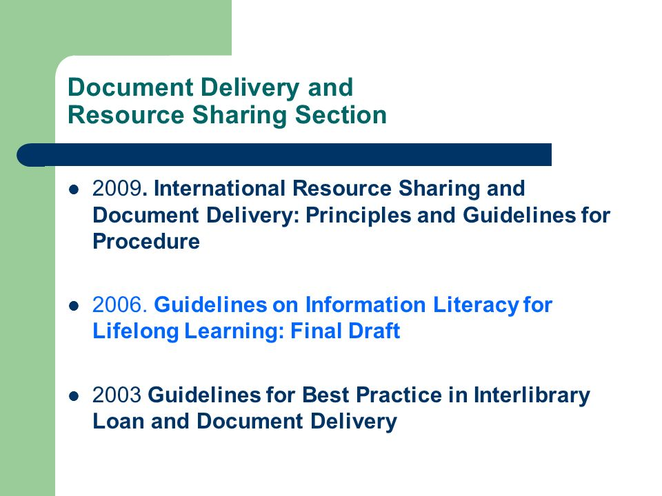 Document Delivery and Resource Sharing Section