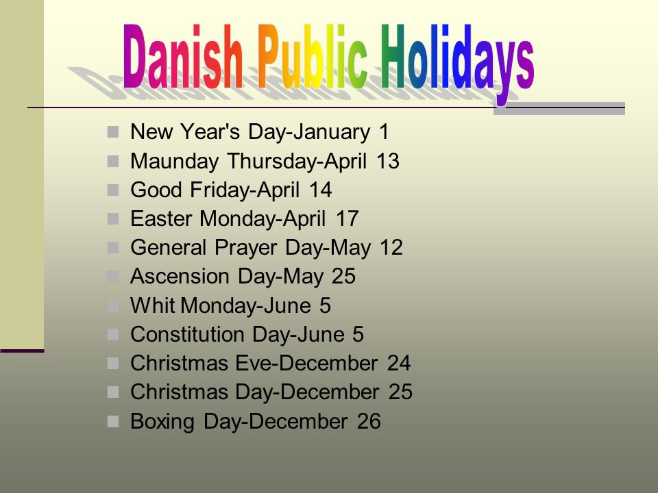 Danish Public Holidays