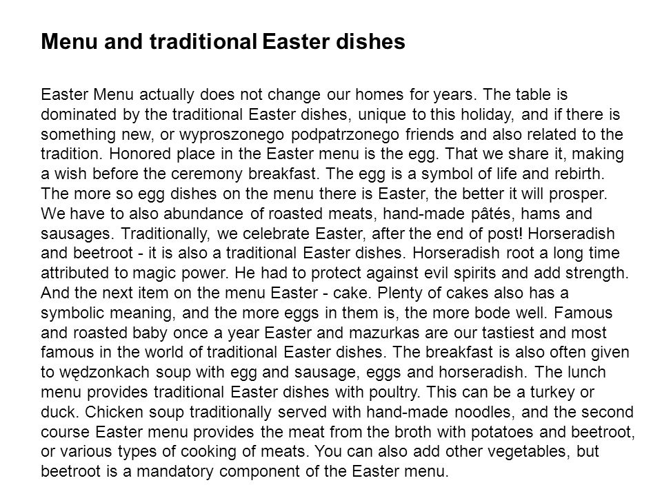 Menu and traditional Easter dishes