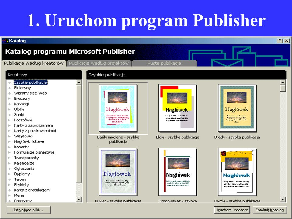 1. Uruchom program Publisher