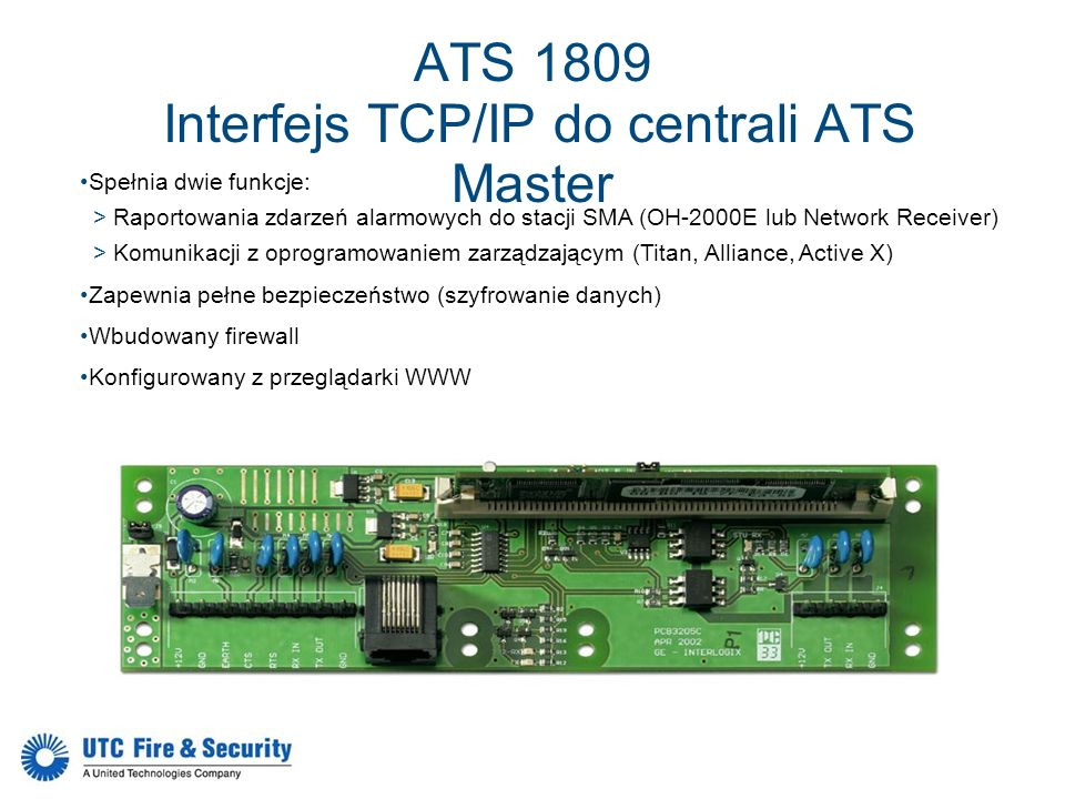 ATS 1809 Interfejs TCP/IP do centrali ATS Master