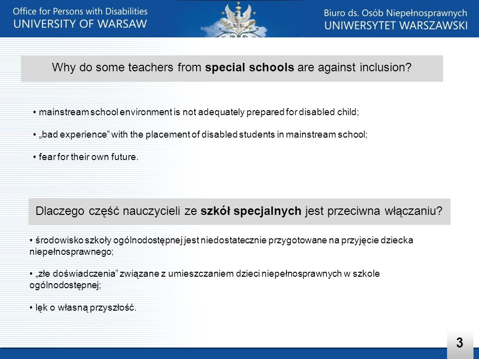 Why do some teachers from special schools are against inclusion
