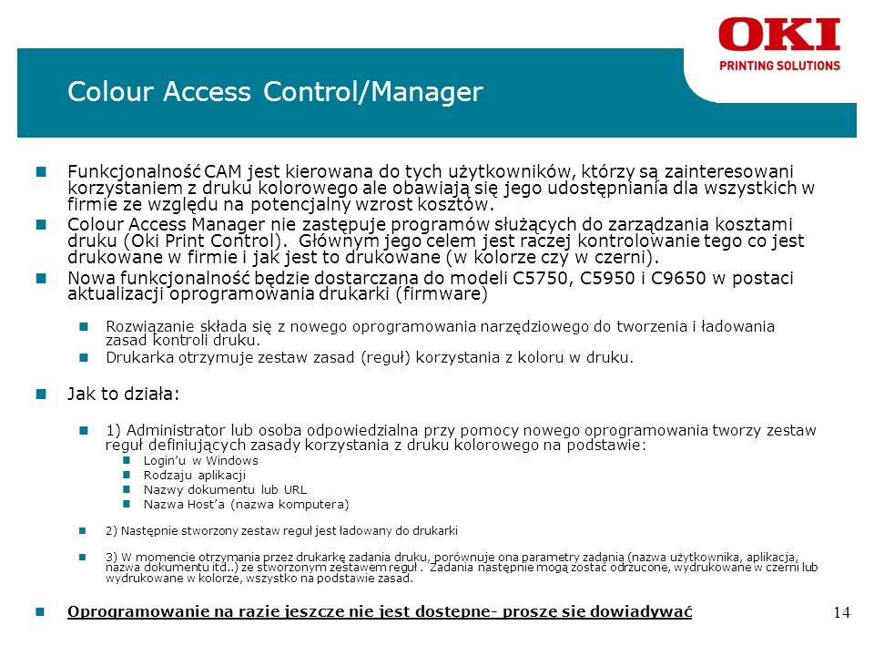 Colour Access Control/Manager