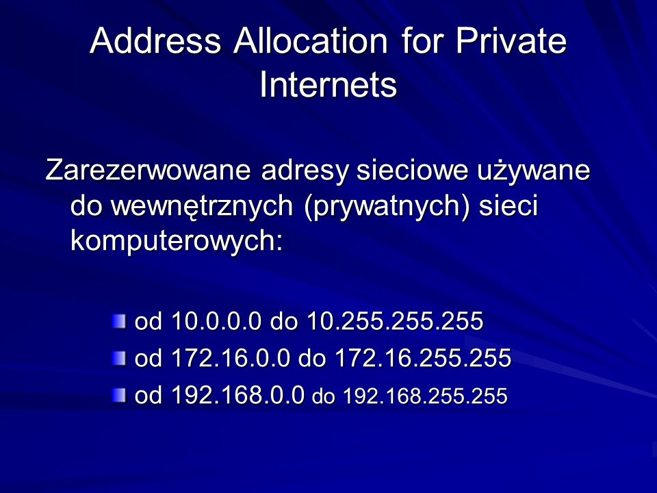 Address Allocation for Private Internets