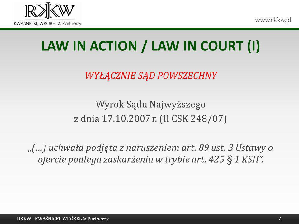 LAW IN ACTION / LAW IN COURT (i)