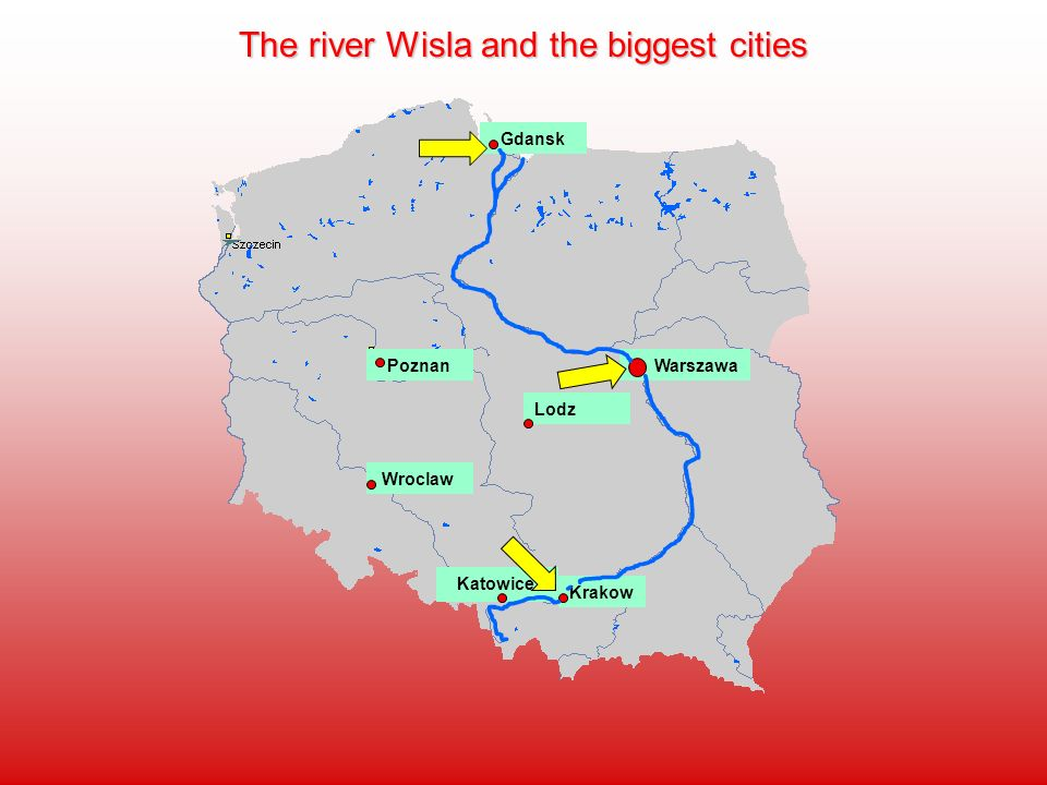 The river Wisla and the biggest cities