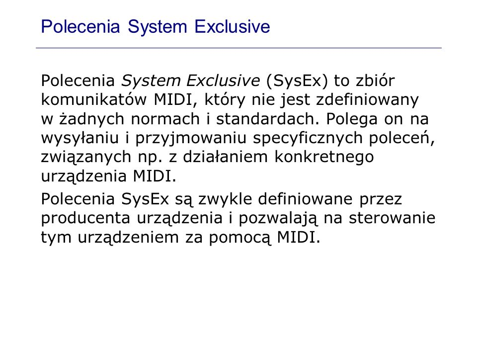 Polecenia System Exclusive
