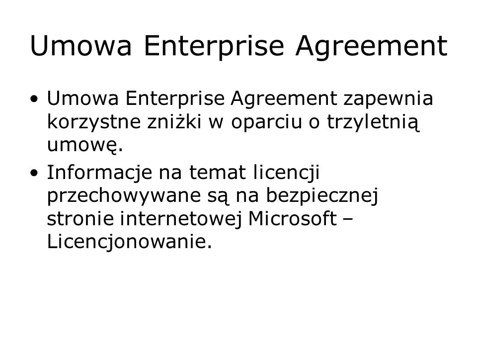 Umowa Enterprise Agreement