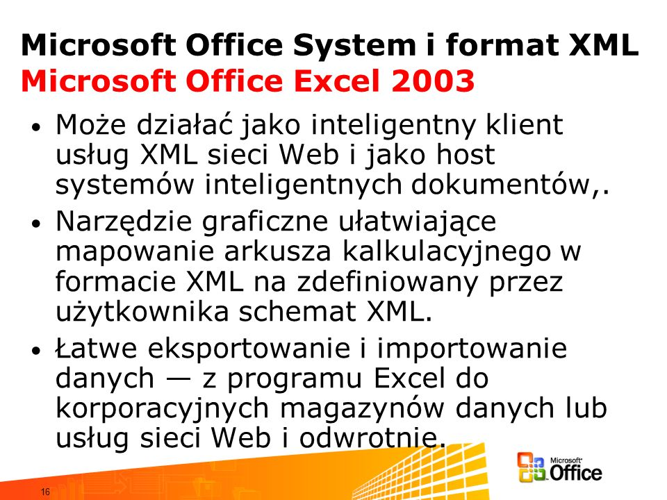 Microsoft Office System i format XML Microsoft Office Excel 2003