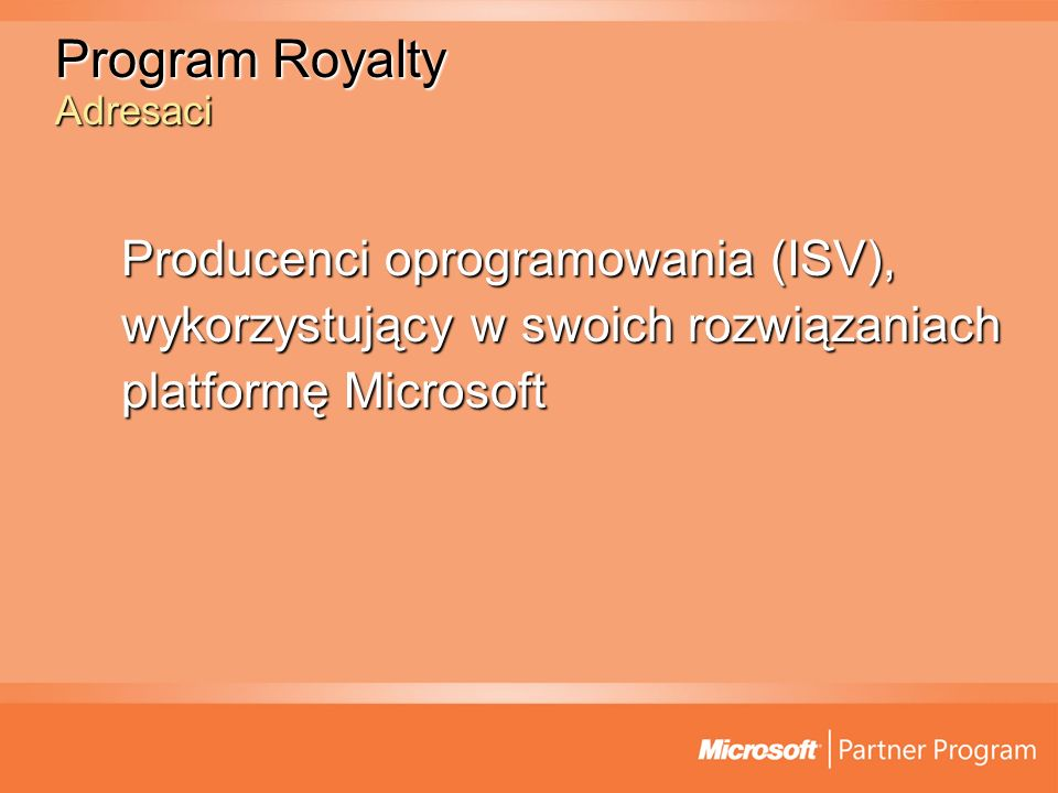 Program Royalty Adresaci