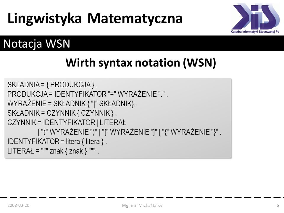 Wirth syntax notation (WSN)