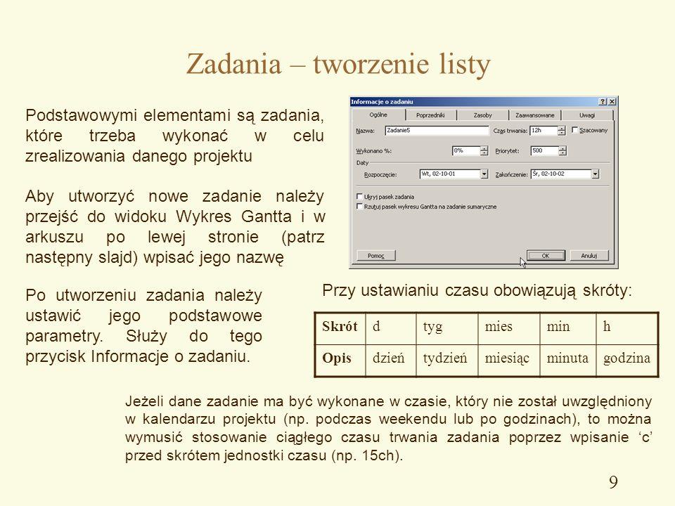 Zarzdzanie projektem ppt pobierz 9 zadania tworzenie listy ccuart Image collections