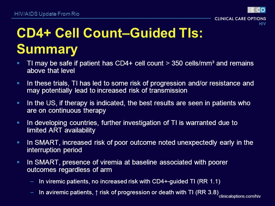 CD4+ Cell Count–Guided TIs: Summary