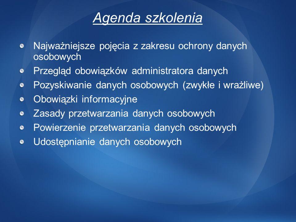 88cadedfd7370c 3/24/ :43 AM Agenda szkolenia. Najważniejsze pojęcia z zakresu ochrony  danych