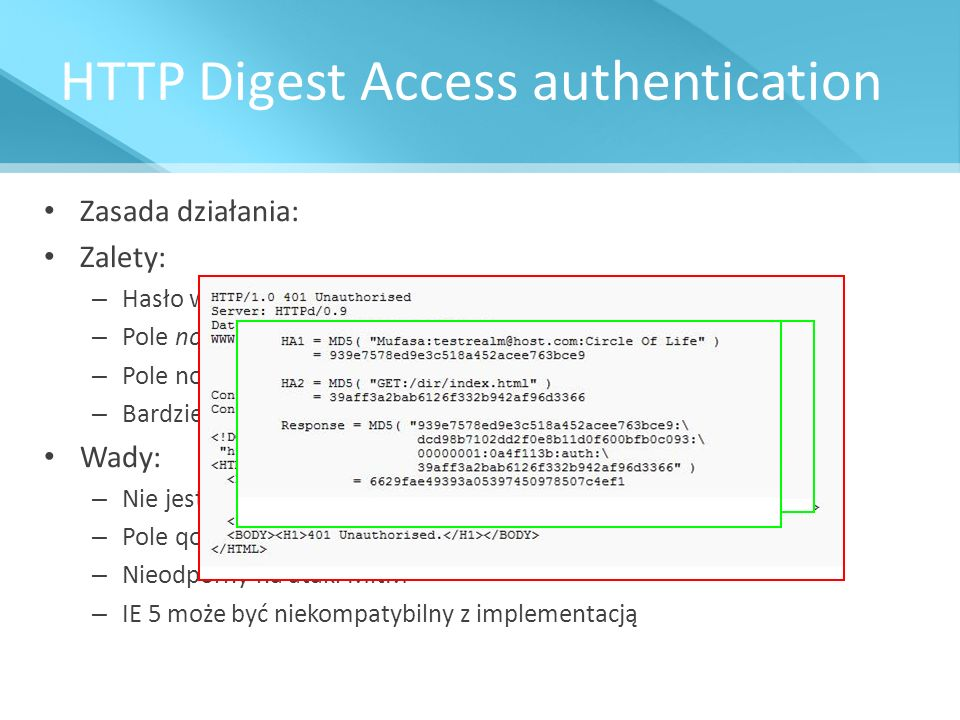 HTTP Digest Access authentication