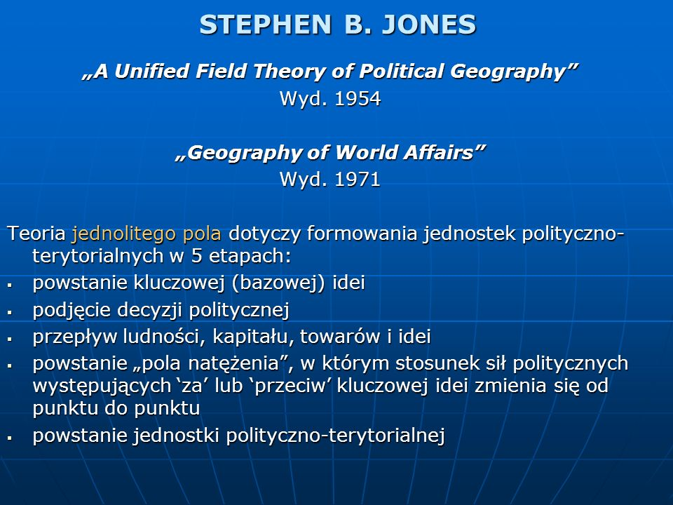 "STEPHEN B. JONES ""A Unified Field Theory of Political Geography"