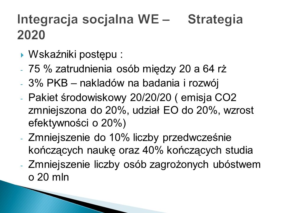Integracja socjalna WE – Strategia 2020