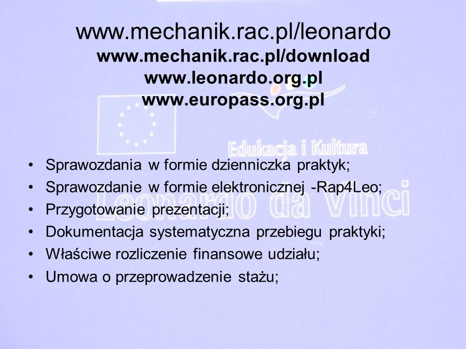 www. mechanik. rac. pl/leonardo www. mechanik. rac. pl/download www
