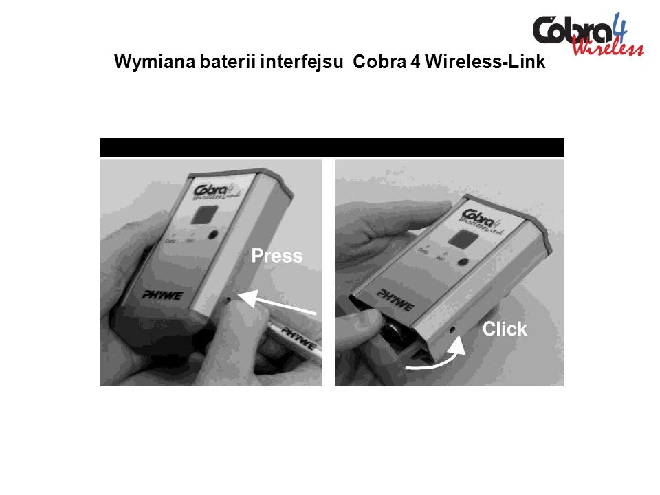 Wymiana baterii interfejsu Cobra 4 Wireless-Link