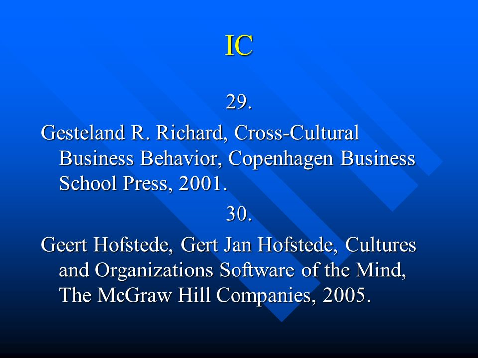 IC 29. Gesteland R. Richard, Cross-Cultural Business Behavior, Copenhagen Business School Press, 2001.