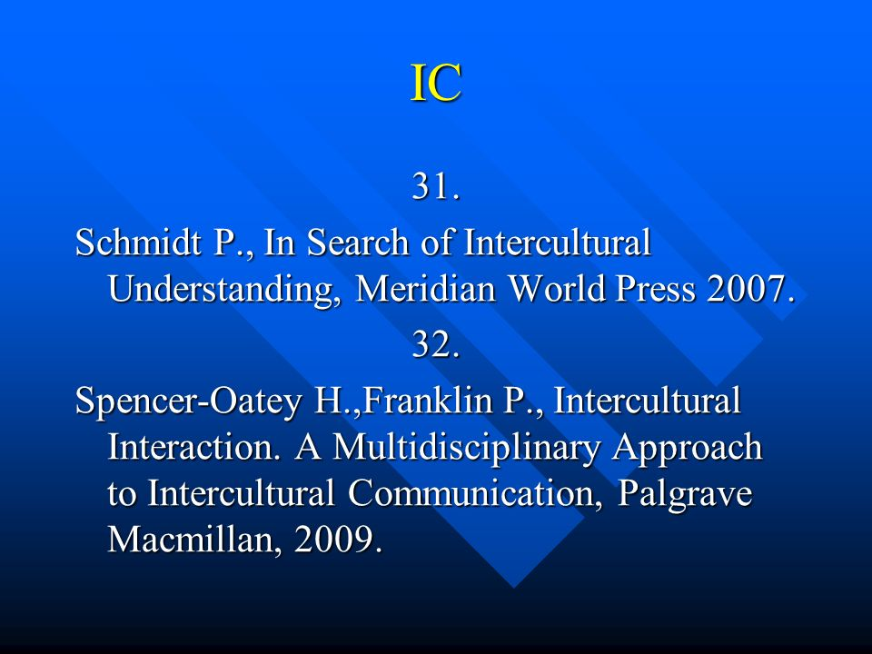 IC 31. Schmidt P., In Search of Intercultural Understanding, Meridian World Press 2007. 32.