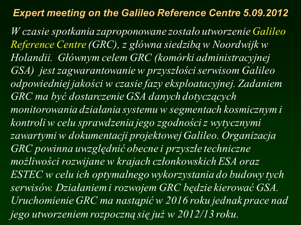 Expert meeting on the Galileo Reference Centre