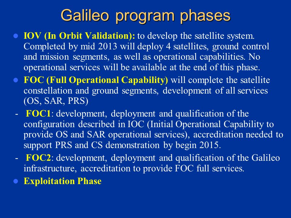 Galileo program phases