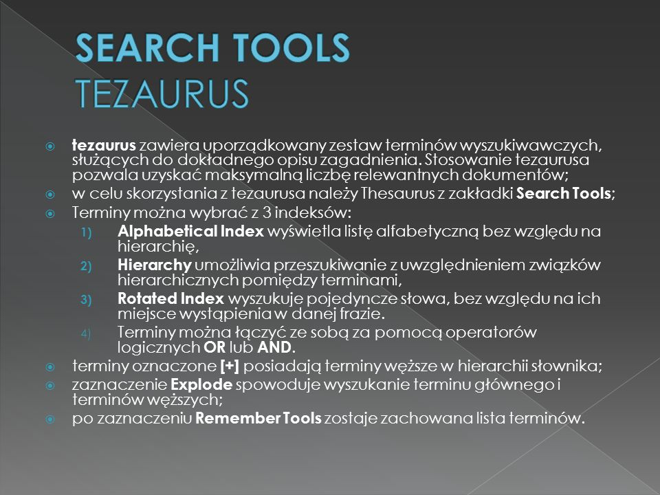 SEARCH TOOLS TEZAURUS