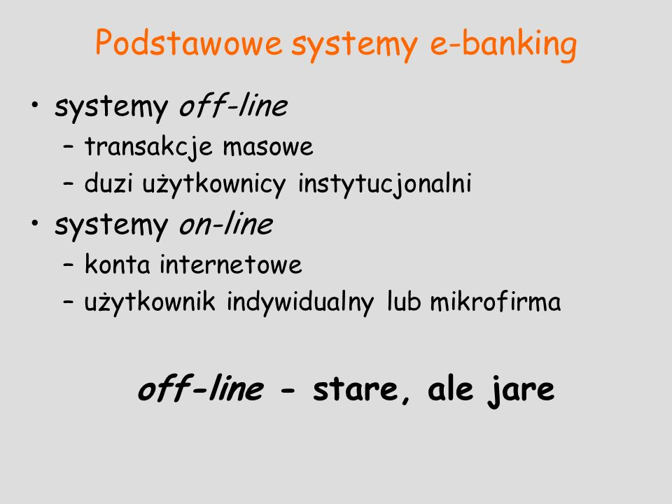 Podstawowe systemy e-banking