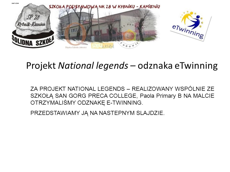 Projekt National legends – odznaka eTwinning