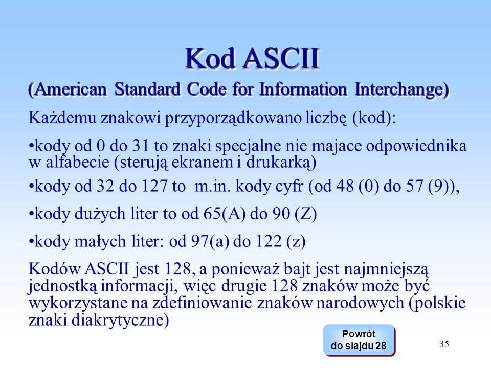 Kod ASCII (American Standard Code for Information Interchange)