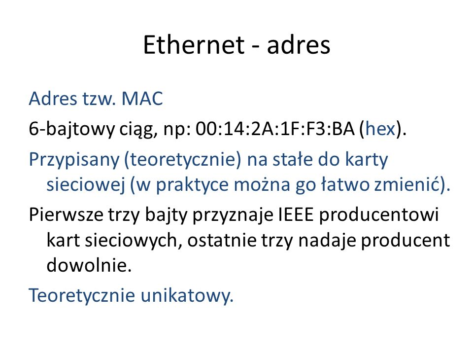 Ethernet - adres