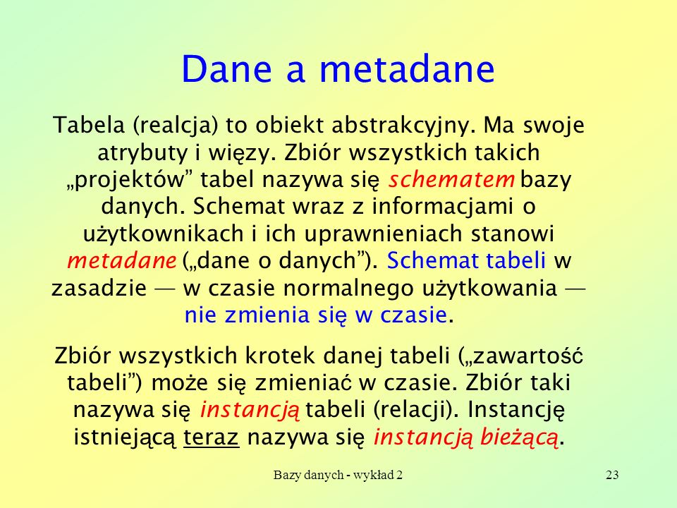Dane a metadane