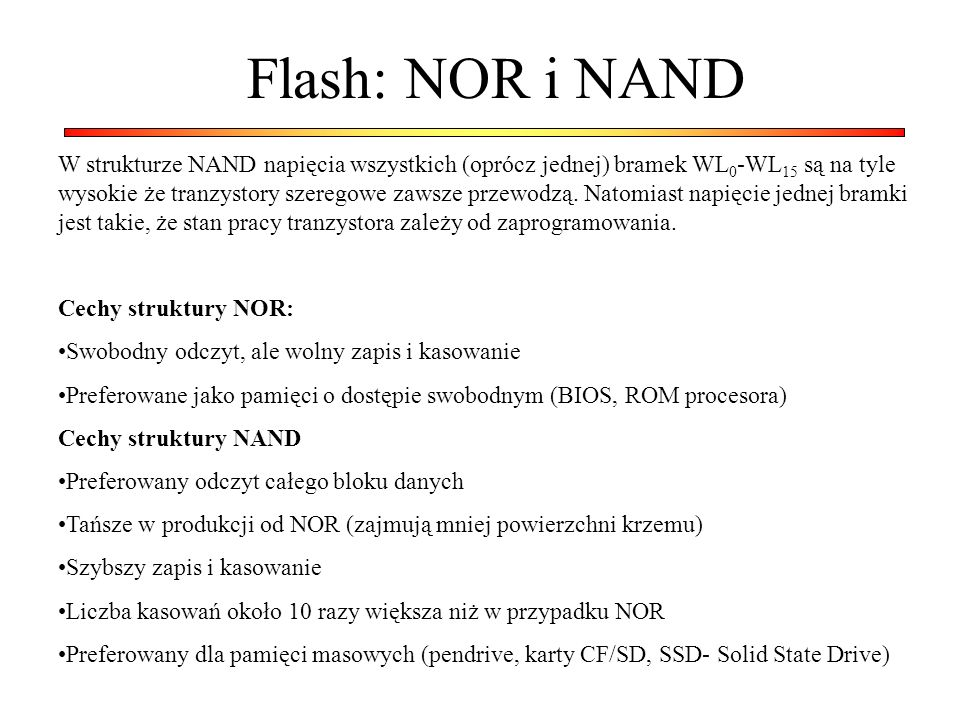 Flash: NOR i NAND