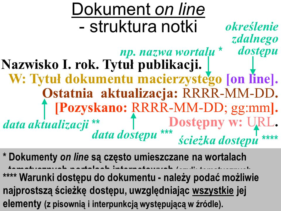 Dokument on line - struktura notki