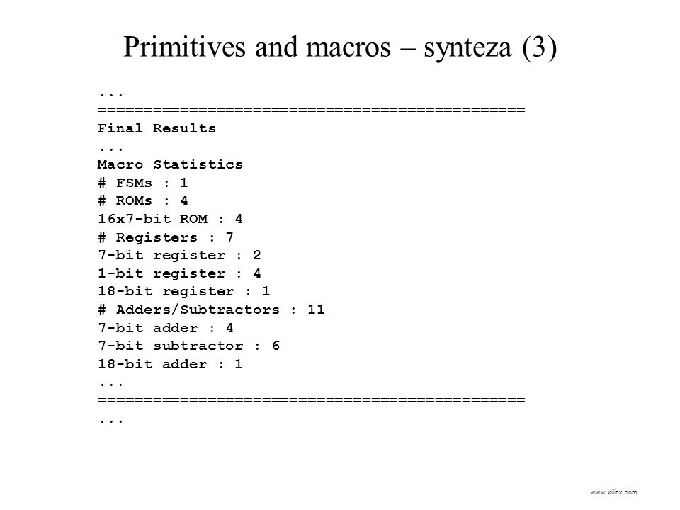 Primitives and macros – synteza (3)