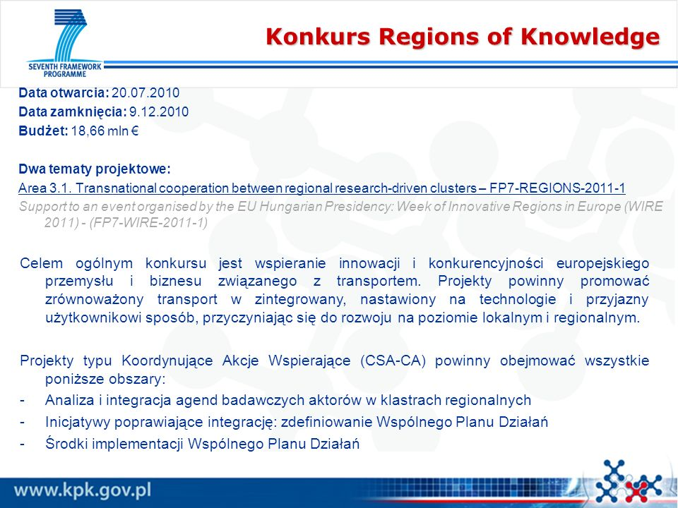 Konkurs Regions of Knowledge