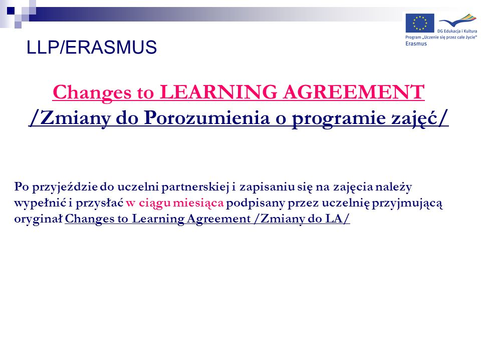 Changes to LEARNING AGREEMENT