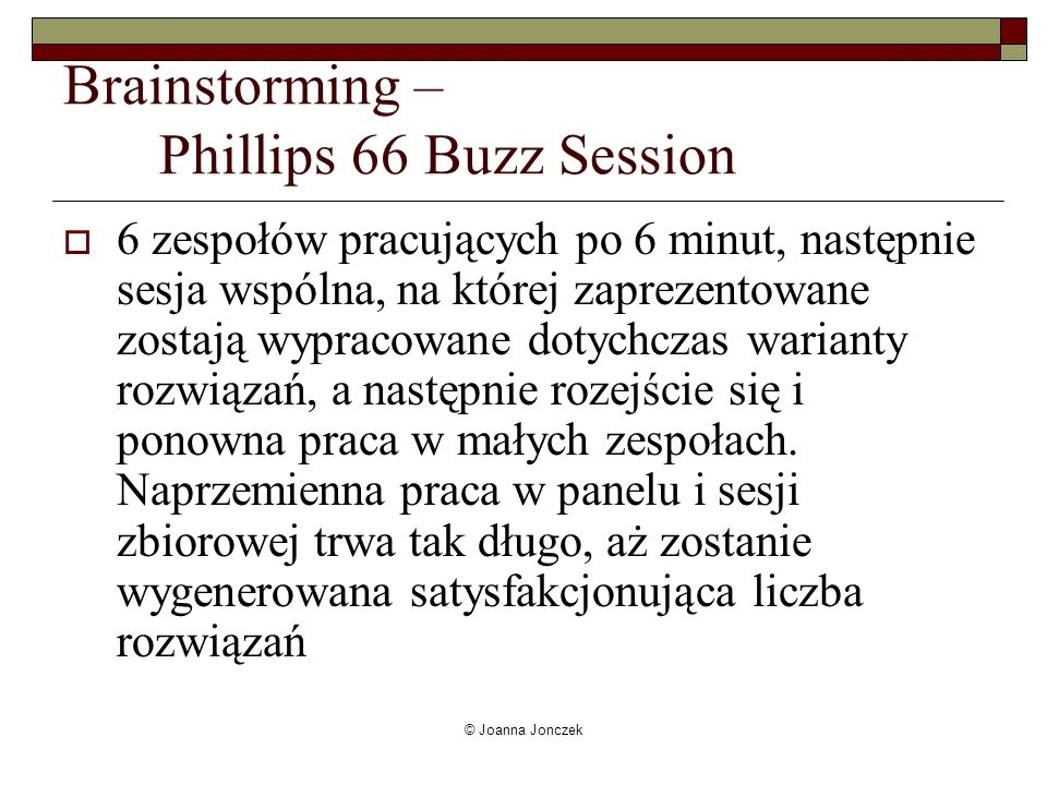 Brainstorming – Phillips 66 Buzz Session