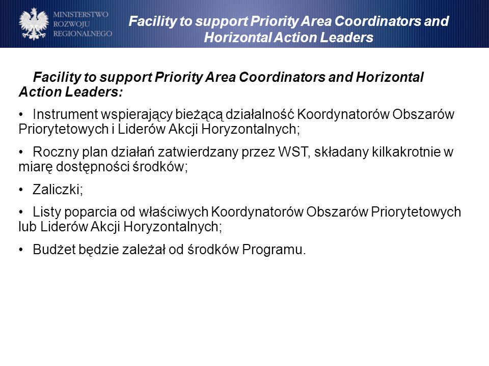 Facility to support Priority Area Coordinators and Horizontal Action Leaders