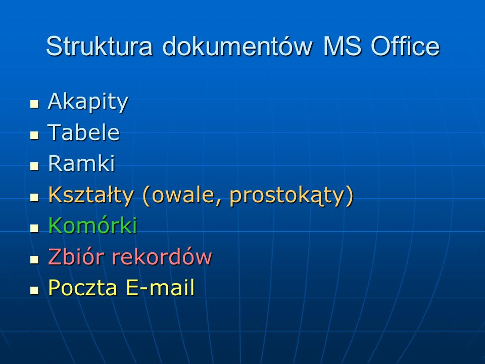 Struktura dokumentów MS Office