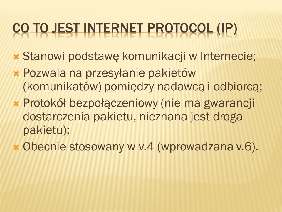 Co to jest Internet protocol (ip)