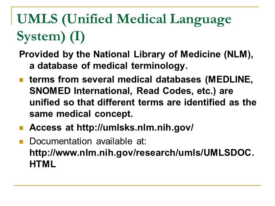 UMLS (Unified Medical Language System) (I)
